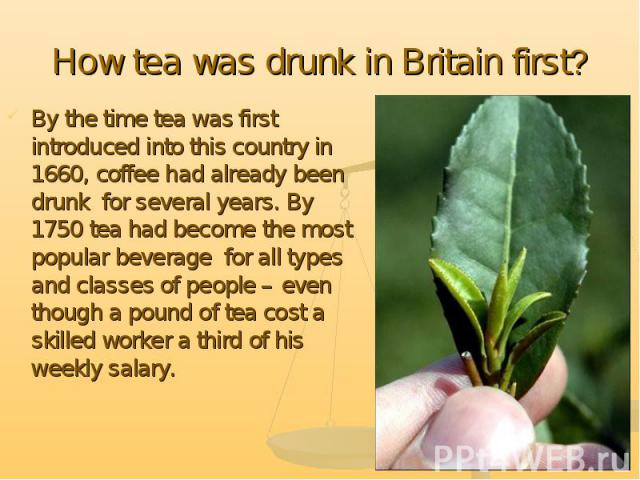 How tea was drunk in Britain first? By the time tea was first introduced into this country in 1660, coffee had already been drunk for several years. By 1750 tea had become the most popular beverage for all types and classes of people – even though a…