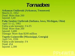 TornadoesArkansas Outbreak (Arkansas, Tennessee)March 21, 1952Dead: More than 26