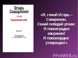 «Я, гений Игорь – Северянин,Своей победой упоен:Я повсеградно оэкранен!Я повсесе
