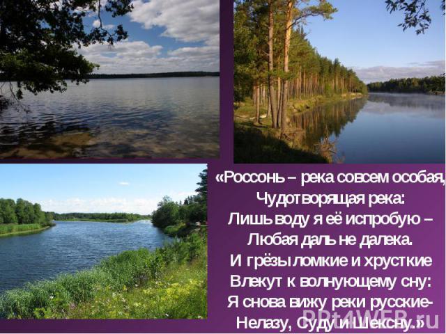 «Россонь – река совсем особая,Чудотворящая река:Лишь воду я её испробую –Любая даль не далека.И грёзы ломкие и хрусткиеВлекут к волнующему сну:Я снова вижу реки русские-Нелазу, Суду и Шексну.»