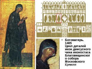 Богоматерь. 1405Цикл деталей икон деисусного чина иконостасаБлаговещенского собо