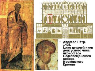 Апостол Пётр. 1405.Цикл деталей икон деисусного чина иконостасаБлаговещенского с