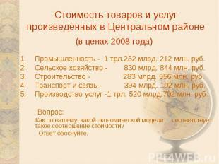 Стоимость товаров и услуг произведённых в Центральном районе(в ценах 2008 года)
