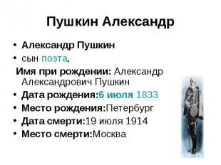 Пушкин АлександрАлександр Пушкинсын поэта, Имя при рождении: Александр Александр