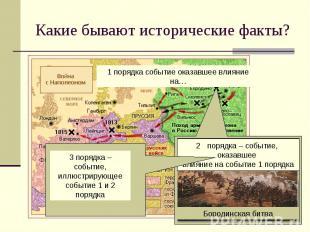 Какие бывают исторические факты?3 порядка – событие, иллюстрирующее событие 1 и
