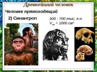 Древнейший человекЧеловек прямоходящий2) Синантроп500 - 700 тыс. л.н.Vгм = 1000
