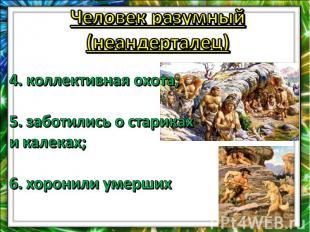 Человек разумный (неандерталец)4. коллективная охота;5. заботились о стариках и