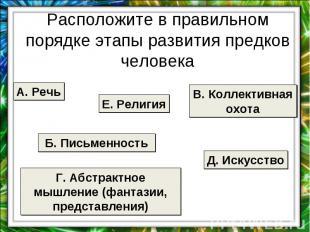 Расположите в правильном порядке этапы развития предков человека