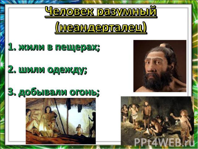Человек разумный (неандерталец)1. жили в пещерах;2. шили одежду;3. добывали огонь;