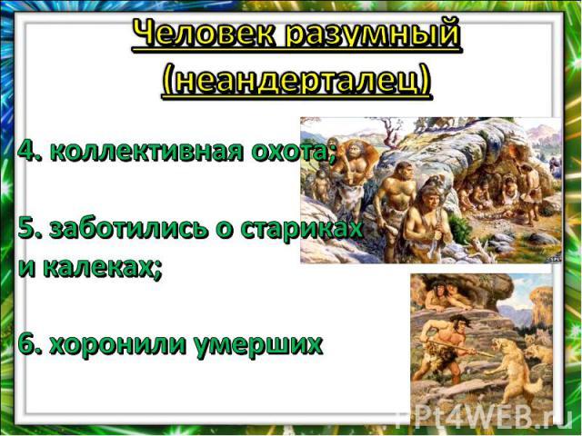Человек разумный (неандерталец)4. коллективная охота;5. заботились о стариках и калеках;6. хоронили умерших