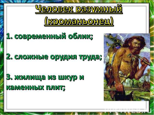 Человек разумный (кроманьонец)1. современный облик;2. сложные орудия труда; 3. жилища из шкур и каменных плит;