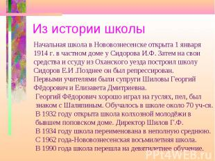 Из истории школы Начальная школа в Нововознесенске открыта 1 января1914 г. в час