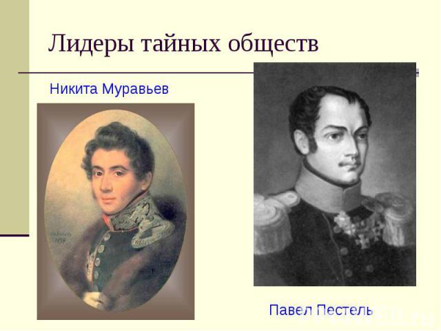 Лидеры тайных обществ Никита Муравьев Павел Пестель