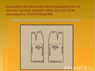 Большинство фасонов юбок моделируется на основе чертежа прямой юбки. Детали юбки
