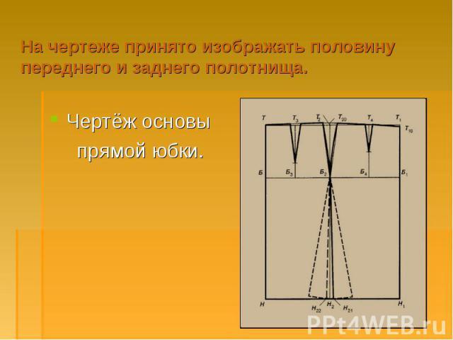 На чертеже принято изображать половину переднего и заднего полотнища.Чертёж основы прямой юбки.