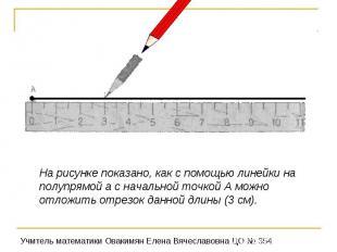 На рисунке показано, как с помощью линейки на полупрямой а с начальной точкой А