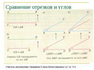 Сравнение отрезков и углов