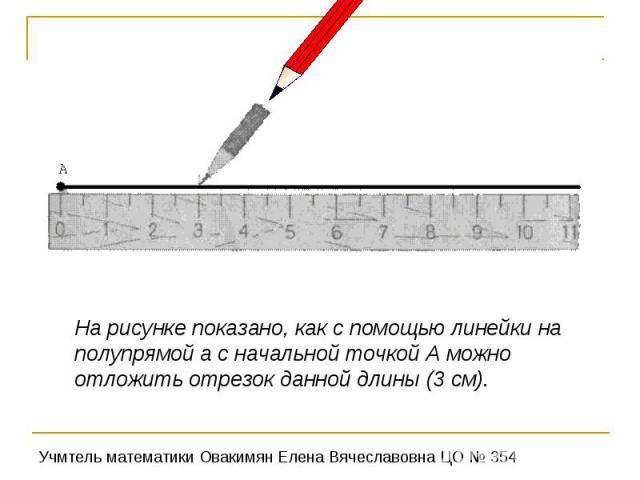 На рисунке показано, как с помощью линейки на полупрямой а с начальной точкой А можно отложить отрезок данной длины (3 см).