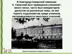 """В Новгород-Северской гимназии К. Ушинский был примерным учеником"""", много читал,"""