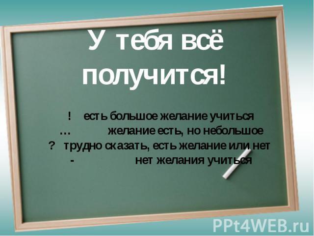 У тебя всё получится! ! есть большое желание учиться… желание есть, но небольшое? трудно сказать, есть желание или нет - нет желания учиться