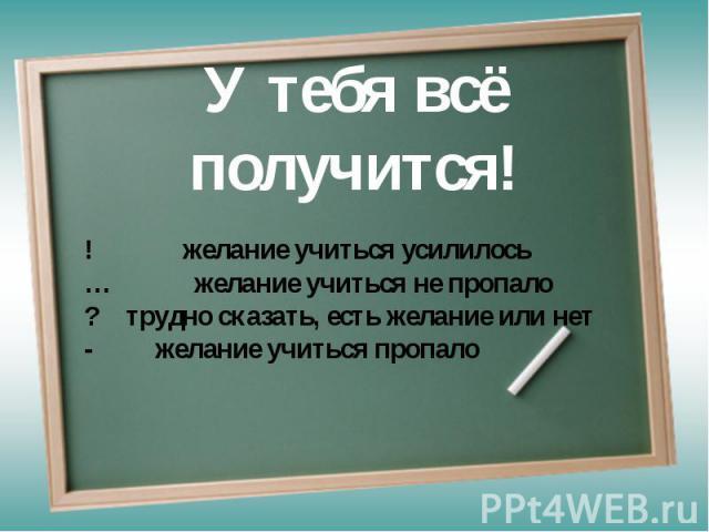 У тебя всё получится! ! желание учиться усилилось… желание учиться не пропало? трудно сказать, есть желание или нет- желание учиться пропало