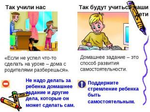 Так учили нас«Если не успел что-то сделать на уроке – дома с родителями разбереш