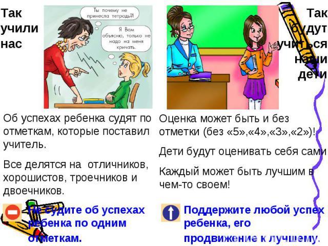 Так учили насОб успехах ребенка судят по отметкам, которые поставил учитель. Все делятся на отличников, хорошистов, троечников и двоечников.Не судите об успехах ребенка по одним отметкам.Так будут учиться наши детиОценка может быть и без отметки (бе…