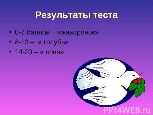 Результаты теста0-7 баллов – «жаворонок»8-13 – « голубь»14-20 – « сова»