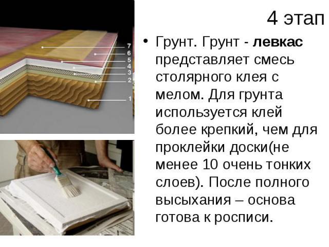 4 этапГрунт. Грунт - левкас представляет смесь столярного клея с мелом. Для грунта используется клей более крепкий, чем для проклейки доски(не менее 10 очень тонких слоев). После полного высыхания – основа готова к росписи.