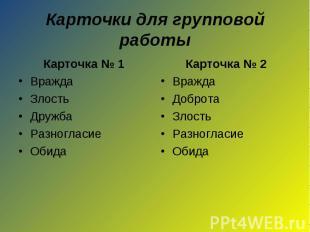 Карточки для групповой работыКарточка № 1ВраждаЗлостьДружбаРазногласиеОбидаКарто