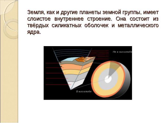 Земля, как и другие планеты земной группы, имеет слоистое внутреннее строение. Она состоит из твёрдых силикатных оболочек и металлического ядра.