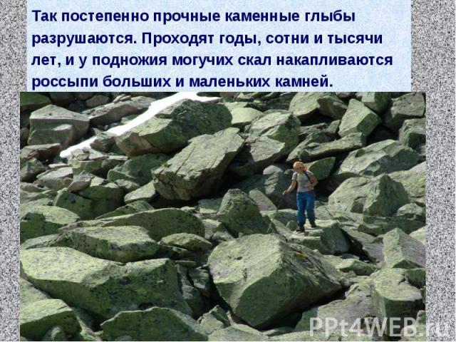 Так постепенно прочные каменные глыбы разрушаются. Проходят годы, сотни и тысячи лет, и у подножия могучих скал накапливаются россыпи больших и маленьких камней.