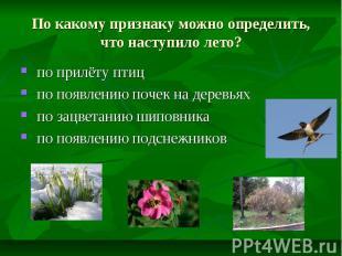 По какому признаку можно определить, что наступило лето? по прилёту птиц по появ