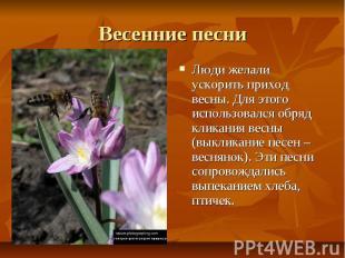 Весенние песни Люди желали ускорить приход весны. Для этого использовался обряд