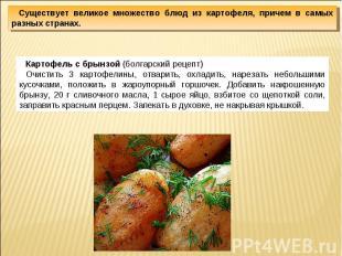 Существует великое множество блюд из картофеля, причем в самых разных странах.Ка
