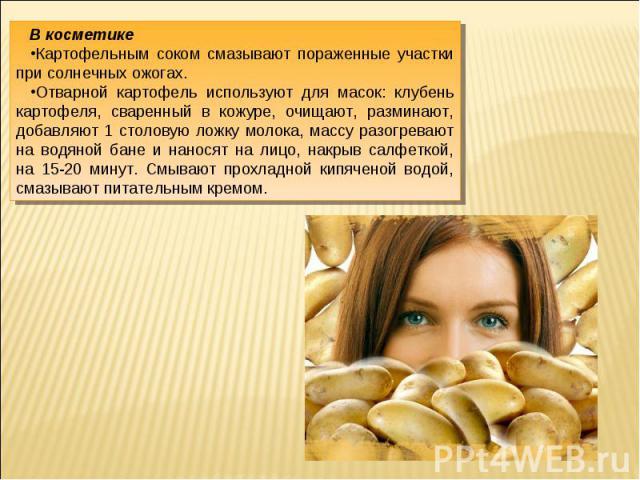 В косметикеКартофельным соком смазывают пораженные участки при солнечных ожогах.Отварной картофель используют для масок: клубень картофеля, сваренный в кожуре, очищают, разминают, добавляют 1 столовую ложку молока, массу разогревают на водяной бане …