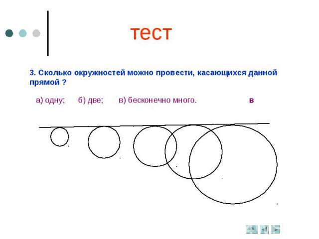 тест3. Сколько окружностей можно провести, касающихся данной прямой ?