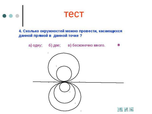 тест4. Сколько окружностей можно провести, касающихся данной прямой в данной точке ?