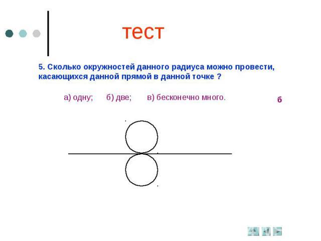 тест5. Сколько окружностей данного радиуса можно провести, касающихся данной прямой в данной точке ?