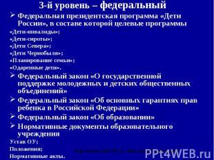 3-й уровень – федеральный Федеральная президентская программа «Дети России», в с