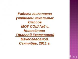 Работа выполнена учителем начальных классов МОУ СОШ №5 с. Новосёлово Орловой Ека