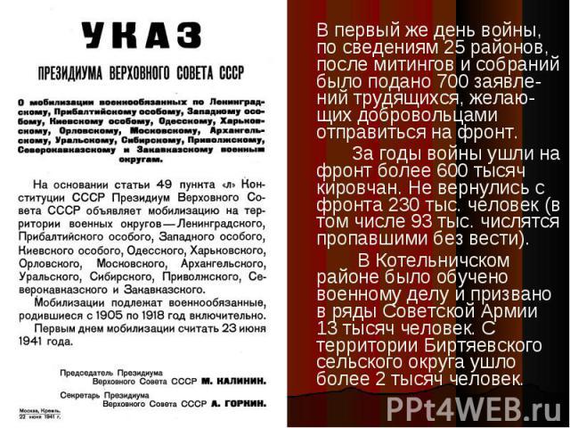 В первый же день войны, по сведениям 25 районов, после митингов и собраний было подано 700 заявле-ний трудящихся, желаю-щих добровольцами отправиться на фронт.За годы войны ушли на фронт более 600 тысяч кировчан. Не вернулись с фронта 230 тыс. челов…
