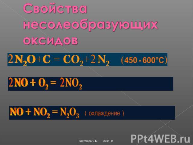 Свойства несолеобразующих оксидов