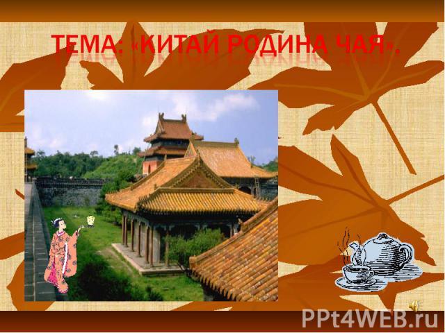 Тема: «Китай родина чая».