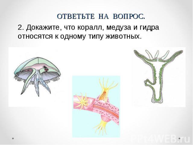 ОТВЕТЬТЕ НА ВОПРОС.2. Докажите, что коралл, медуза и гидра относятся к одному типу животных.