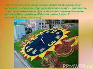 Для создания часов было использовано 50 тысяч цветов, половина из которых образу