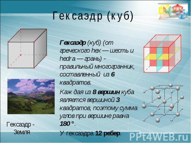 Гексаэдр (куб)Гексаэдр (куб) (от греческого hex — шесть и hedra — грань) - правильный многогранник, составленный из 6 квадратов. Каждая из 8 вершин куба является вершиной 3 квадратов, поэтому сумма углов при вершине равна 180 °.У гексаэдра 12 ребер.