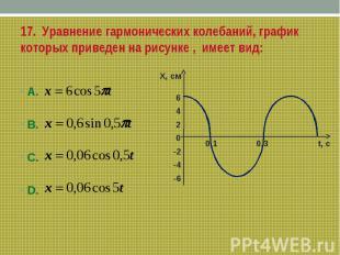 17. Уравнение гармонических колебаний, график которых приведен на рисунке , имее