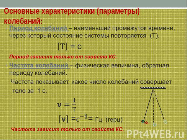 Основные характеристики (параметры) колебаний: