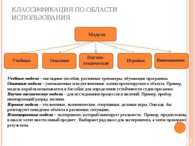 Классификация по области использованияУчебные модели – наглядные пособия, различные тренажеры, обучающие программы.Опытные модели – уменьшенные или увеличенные копии проектируемого объекта. Пример, модель корабля испытывается в бассейне для определе…